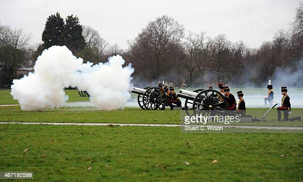 Gunners from The Kings Troop Royal Horse Artillery fire a 21Gun Royal Salute in Hyde Park on February 6 2014 in London England The 21Gun Royal Salute...