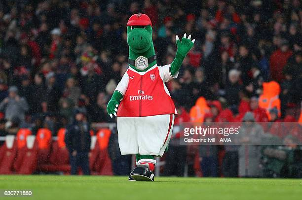 Gunnersaurus mascot of Arsenal waves before the Premier League match between Arsenal and Crystal Palace at Emirates Stadium on January 1 2017 in...
