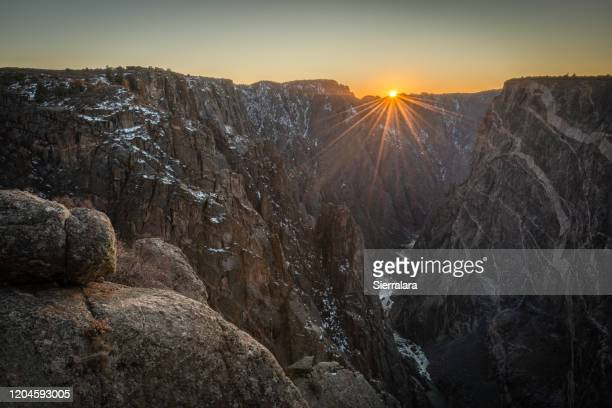 gunnison river running through black canyon at sunset, gunnison national forest, colorado, usa - colorado stock pictures, royalty-free photos & images