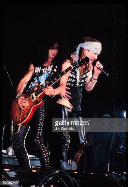 Guns and Roses Slash Axel Rose perform at Roy Wilkins Arena in St Paul Minnesota in 1988