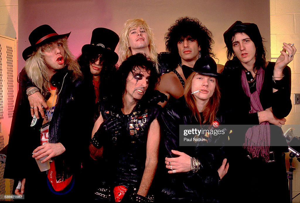Guns and Roses with Alice Cooper and Kane Roberts of the Alice Cooper Band at the UIC Pavillion in Chicago, Illinois, August 21, 1987 .