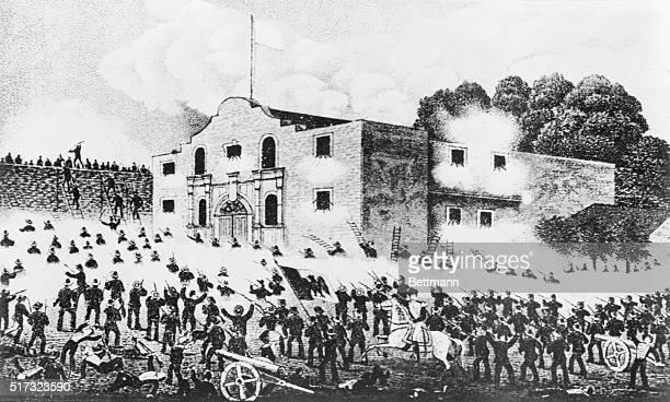 Guns blaze from the windows of the Alamo a fort and former mission in San Antonio that became the center of the war between Mexico and Texans over...