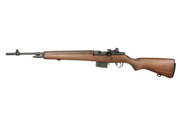 Guns : Close up of a Civilian Styled M14 Assault Rifle on White Background