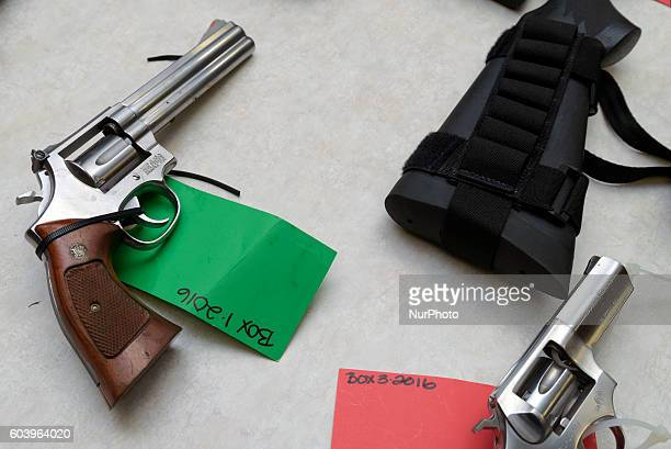 Guns confiscated from felons displayed during a press conference in Los Angeles California September 8 2016 Since its inception in 1999 the DISARM...