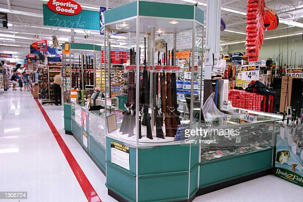 Guns for sale at a Wal-Mart, July 19, 2000. Wal-Mart and one of their chief spokespeople, Rosie O''Donnell, are at odds over the issue of guns and...