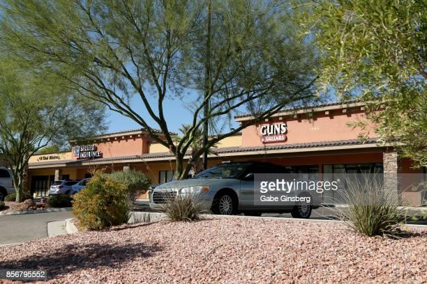 Guns Guitars gun shop where suspected Las Vegas gunman Stephen Paddock allegedly purchased firearms is seen on October 2 2017 in Mesquite Nevada...