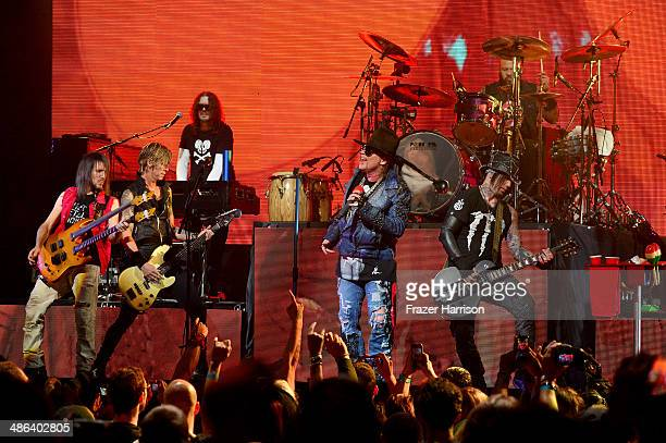 Guns N' Roes perform at the 6th Annual Revolver Golden Gods Award Show at Club Nokia on April 23 2014 in Los Angeles California
