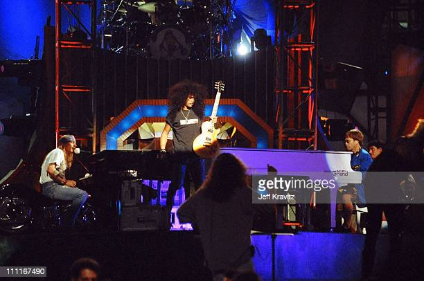 Guns N' Roses and Elton John during 1992 MTV Video Music Awards Rehearsals at Pauley Pavilion in Los Angeles California United States