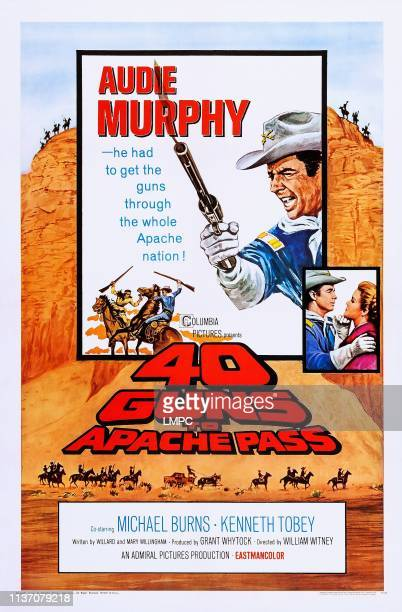 Guns To Apache Pass, poster, US poster, Audie Murphy , face to face from left: Audie Murphy, Loraine Stephens, 1967.