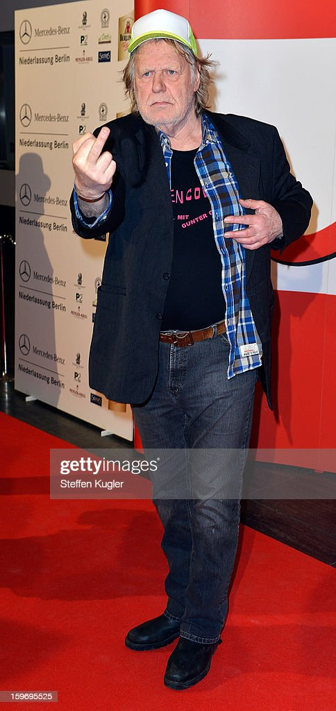 Gunter Gabriel poses for photographers as he arrives for the B.Z. Kulturpreis on January 18, 2013 in Berlin, Germany.