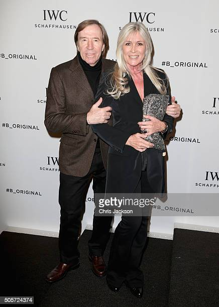 Gunter Netzer and Elvira Lang Netzer visits the IWC booth during the launch of the Pilot's Watches Novelties from the Swiss luxury watch manufacturer...