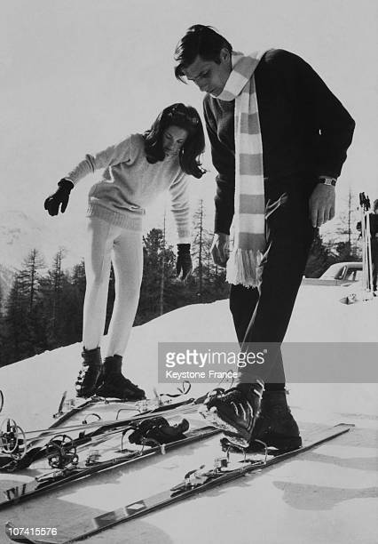 Gunter Sachs And A Young Girl Skiing In Saint Moritz On March 15Th 1965