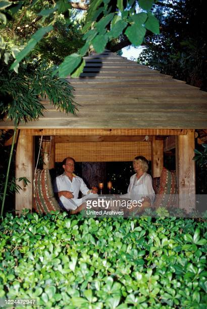 Gunter Sachs wife Mirja and son Claus Alexander meditating in Sankt Tropez France 2004