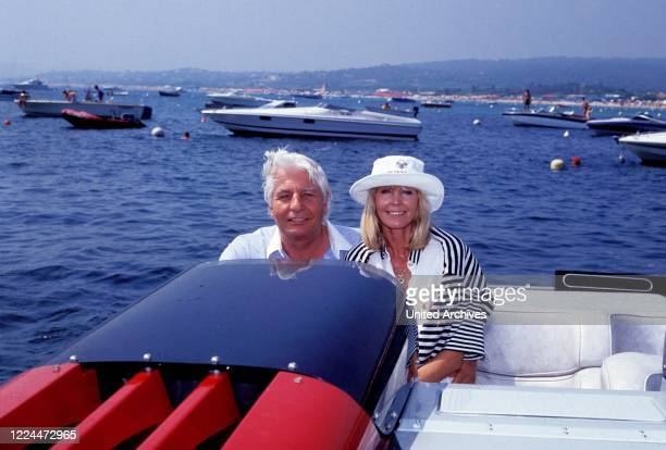 Gunter Sachs with his wife Mirja in a motorboat near Sankt Tropez France 2000s