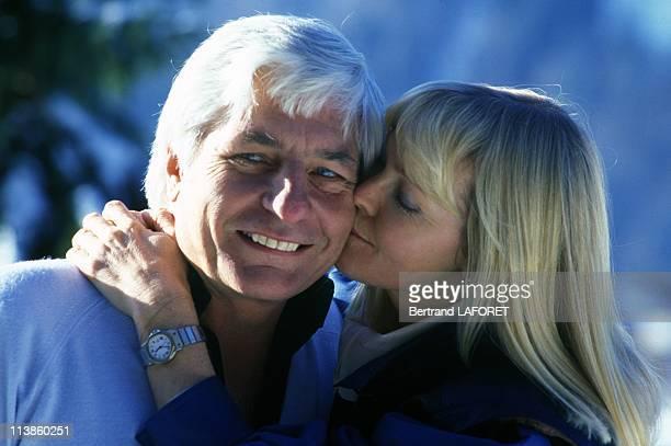 Gunter Sachs with his wife Mirja Larsen in Gstaad December 27 1983