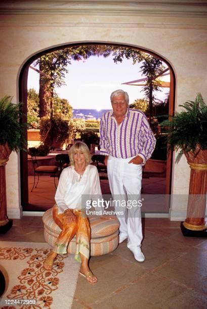 Gunter Sachs with wife Mirja posing in their villa in Sankt Tropez France 2004