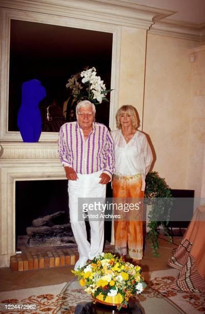 Gunter Sachs with wife Mirja posing in their villa in Sankt Tropez, France 2004.