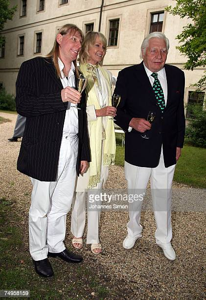 Gunther Sachs his wife Mirja and son Halifax Sachs attend the operetta Weisses Roessl at the Thurn und Taxis castle festival on June 29 in Regensburg...