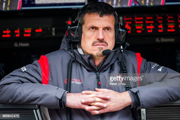 Gunther Steiner of Germany and Haas during practice for the Formula One Grand Prix of China at Shanghai International Circuit on April 7 2017 in...