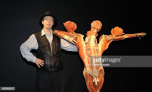 Gunther von Hagens poses with the On Point Dancer exhibit at his 'Body Worlds And The Mirror Of Time' exhibition at the O2 bubble on October 23 2008...