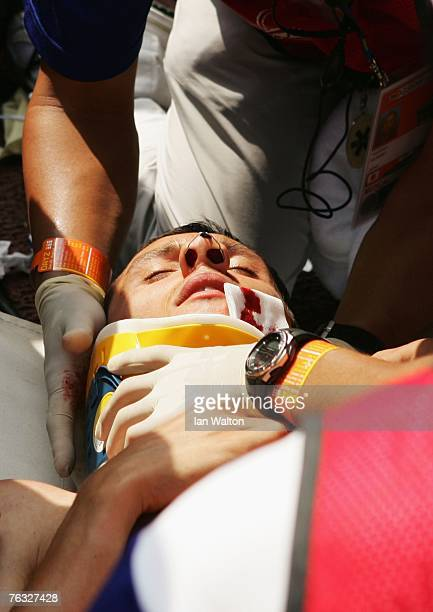 Gunther Weidlinger of Austria is injured while falling at one of the jumps during the Men's 3000m Steeplechase heats on day two of the 11th IAAF...