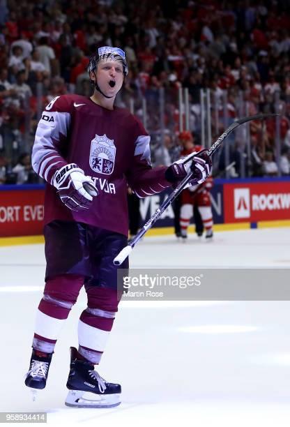 Guntis Galvins of Latvia celebrates after the 2018 IIHF Ice Hockey World Championship Group B game between Latvia and Denmark at Jyske Bank Boxen on...