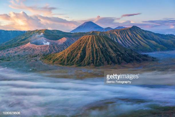 gunung bromo volcano on java island - mt bromo stock photos and pictures
