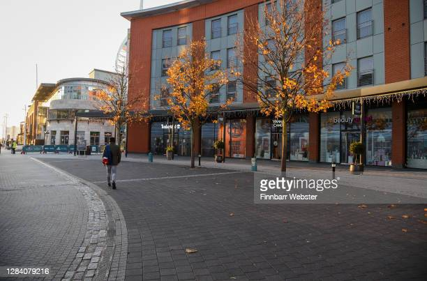 Gunwharf Quays is closed on the first day of a new national lockdown on November 05, 2020 in Portsmouth, England. England enters second national...
