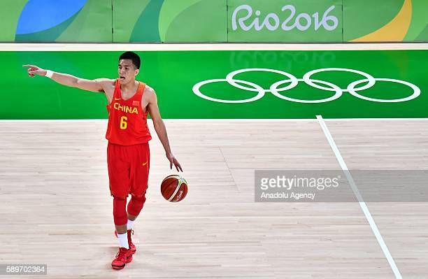 Guo Ailun of China in action during the men's preliminary round group A match between China and Serbia on Day 9 of the Rio 2016 Olympic Games at the...
