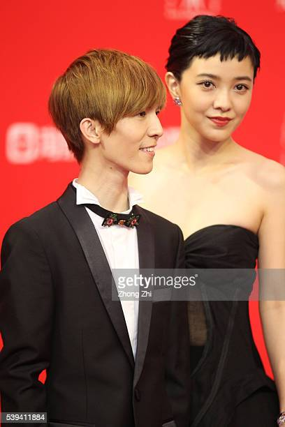 Guo Jingming and Amber Kuo arrive for the red carpet of the 19th Shanghai International Film Festival at Shanghai Grand Theatre on June 11 2016 in...