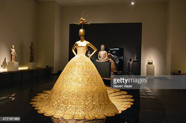 Guo Pei, Evening Gown, spring/summer 2007, Haute couture on display at 'China: Through the Looking Glass' press preview at the Temple of Dendur at...