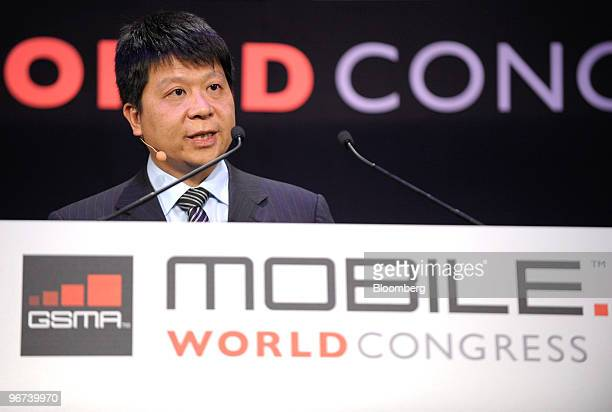 Guo Ping chairman and president of Huawei Technologies Co speaks at the Mobile World Congress in Barcelona Spain on Tuesday Feb 16 2010 Leading...