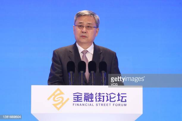 Guo Shuqing, chairman of the China Banking and Insurance Regulatory Commission, speaks during opening ceremony of the Annual Conference of Financial...