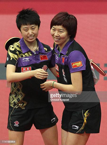 Guo Yue and Li Xiaoxia celebrate winning the Women's Double Final match between Guo Yue and Li Xiaoxia of China and Ding Ning and Guo Yan of China...