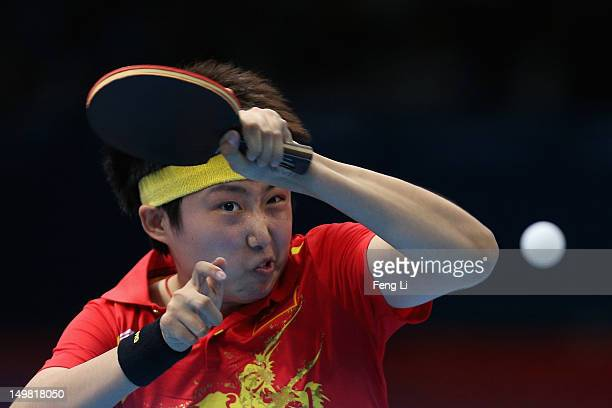 Guo Yue of China competes during Women's Team Table Tennis quarterfinal match against team of Netherlands on Day 8 of the London 2012 Olympic Games...