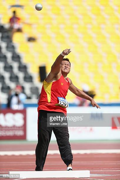 Guofeng Kang of China competes in the Men's Shot Put F42 Final during the Morning Session on Day One of the IPC Athletics World Championships at...