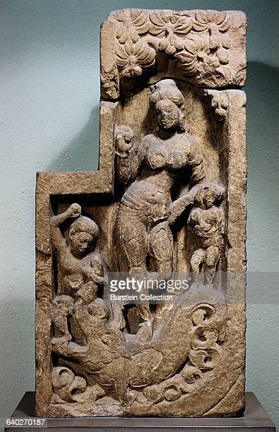 Gupta Sculpture from Besnagar Depicting the River Goddess Ganga Standing on a Makara