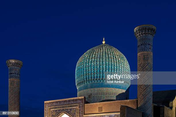 Gur Amir Mausoleum belonging to Tamerlane, at the blue hour, Samarkand, Uzbekistan