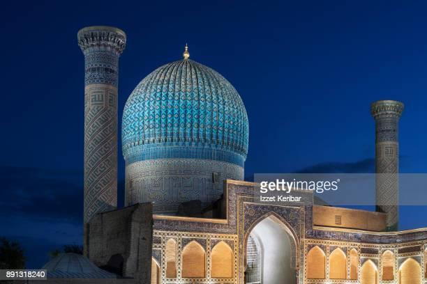 Gur Amir ( Tamerlane' s tomb ) Mausoleum, illuminated at the blue hours, Samarkand, Uzbekistan