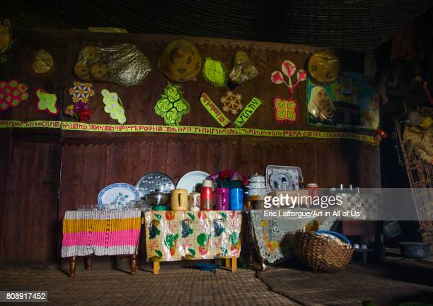 Gurage traditional house decorated with doilies on the walls Gurage Zone Butajira Ethiopia on June 18 2017 in Butajira Ethiopia