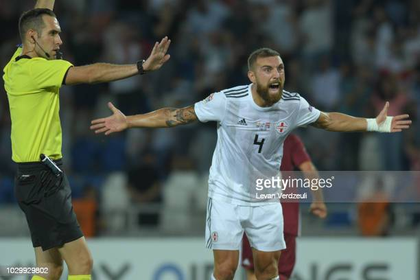 Guram Kashia of Georgia reacts to the referee decision during the UEFA Nations League D group one match between Georgia and Latvia at Boris Paichadze...