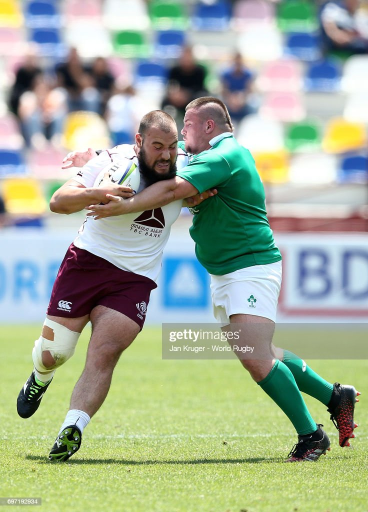 Guram Papidze of Georgia is tackled by Charlie Connolly of Ireland during the World Rugby U20 Championship 9th Place Playoff match between Ireland and Georgia at Mikheil Meskhi Stadium on June 18, 2017 in Tbilisi, Georgia.