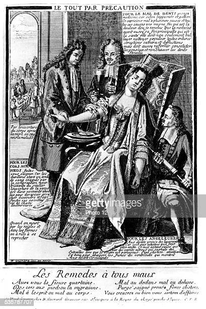 Guérard Remedies for all that ails Everything by precaution satirical engraving 18th France