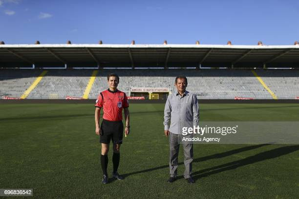 Gurcan Ozcan former football referee poses for a photo with his 29yearold son Burak Ozcan who had chosen exactly the same field of profession with...