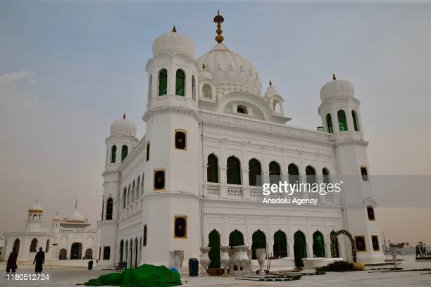 Gurdwara Darbar Sahib Kartarpur shrine where the Sikhism founder Guru Nanak Dev died is seen in Kartarpur town of Punjab province Pakistan on...