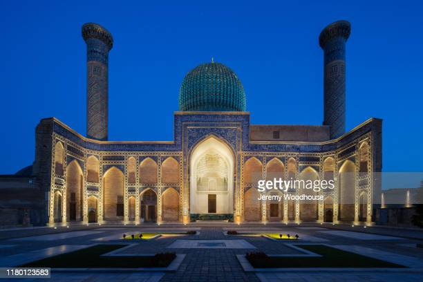 gur-emir mausoleum at dusk - minaret stock pictures, royalty-free photos & images