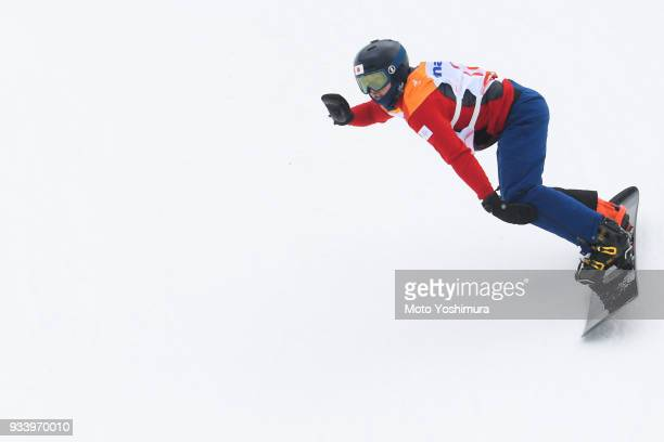 Gurimu Narita of Japan competes in the Snowboard Men's Banked Slalom SBLL2 Run 1 on day seven of the PyeongChang 2018 Paralympic Games on March 16...