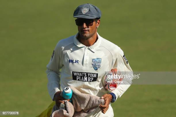 Gurinder Sandhu is seen during of the NSW Blues is seen during the day one of the Sheffield Shield match between Victoria and New South Wales at...
