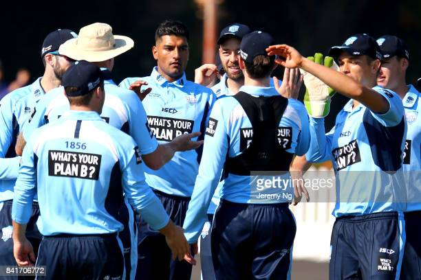 Gurinder Sandhu of Cricket NSW celebrates a wicket during the Cricket NSW Intra Squad Match at Hurstville Oval on September 2, 2017 in Sydney,...