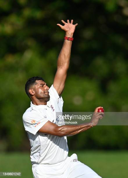 Gurinder Sandhu of Queensland bowls during day two of the Sheffield Shield match between Queensland and Tasmania at Riverway Stadium, on October 28...